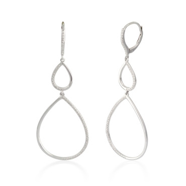 0.33ctw Diamond Pear Hoop Earrings