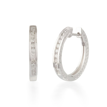 0.25ctw Engraved Diamond Hoop Earrings