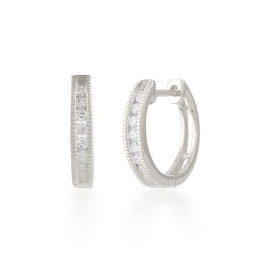 0.18ctw Diamond Hoop Earring