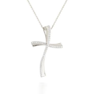 0.10ct Diamond Wavy Cross Pendant