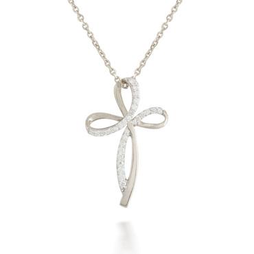 0.23ct Diamond Ribbon Cross Pendant