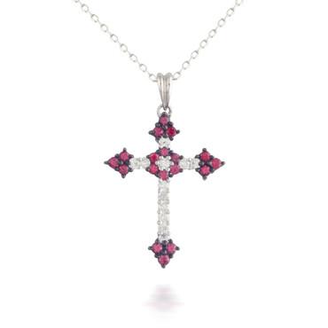 Ruby and Diamond Cross Pendant