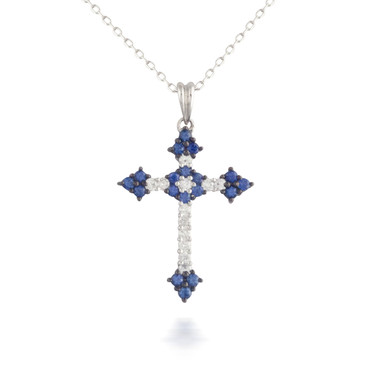 Sapphire and Diamond Cross Pendant