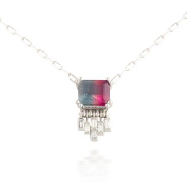Bi-Color Tourmaline Pendant with Fringe Baguette Diamonds