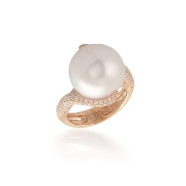 Swirl Halo Pearl Diamond Halo Ring