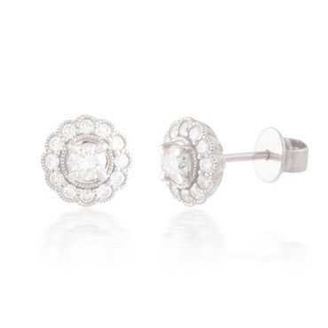 0.70ctw Diamond Flower Stud Earrings