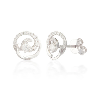 0.33ctw Diamond Swirl Stud Earrings