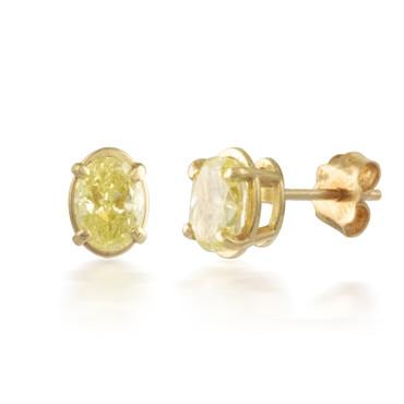 1.18ctw Yellow Oval Diamond Stud Earrings