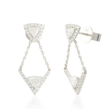 1.28ctw Diamond Dangle Stud Earrings