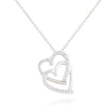 0.10ctw Diamond Double Heart Pendant