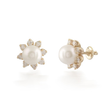 Pearl Stud Earrings with Diamond Halo