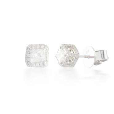 0.81ctw Princess Diamond Halo Earrings