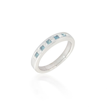 Alternating Blue and White Diamond Band