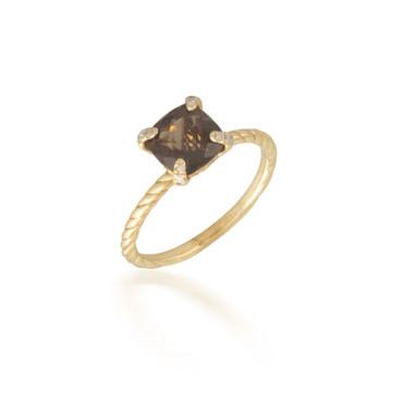 Smokey Topaz and Diamond Ring 2