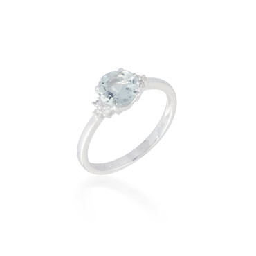 1.10ct Aquamarine and Diamond Ring