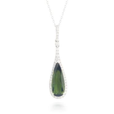 2.25ct Green Tourmaline and Diamond Pendant