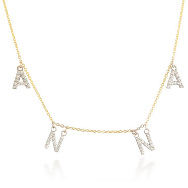 Diamond Customizable Wording Necklace