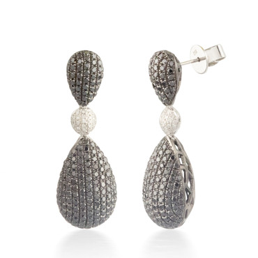 4.24ctw Black and White Diamond Earrings