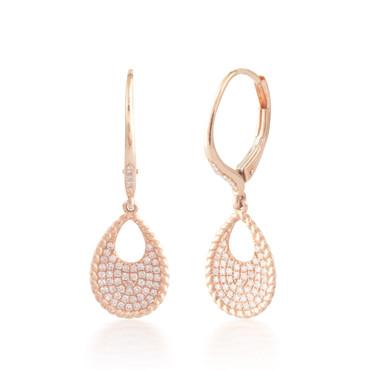 0.32ctw Diamond Dangling Hoop Earrings