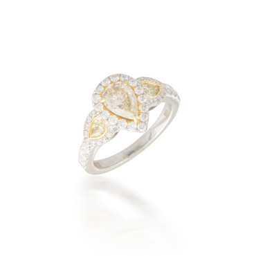Yellow Diamond Three Stone Engagement Ring with Halo 2