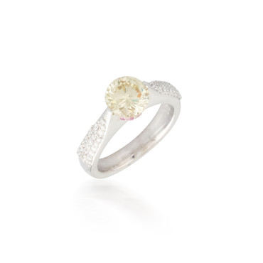 Round Yellow Diamond Ring with Sapphire Accent