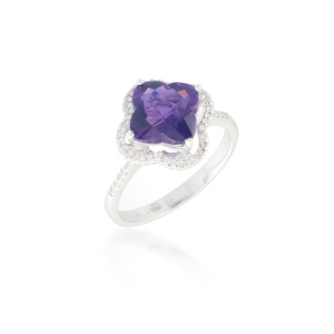 Clover Amethyst Ring with Diamond Halo