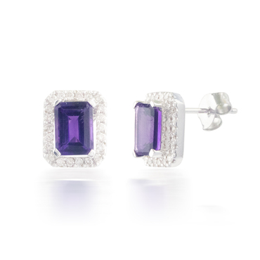 Emerald-cut Halo Diamond and Amethyst Earrings