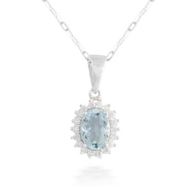 0.61ct Aquamarine and Diamond Pendant
