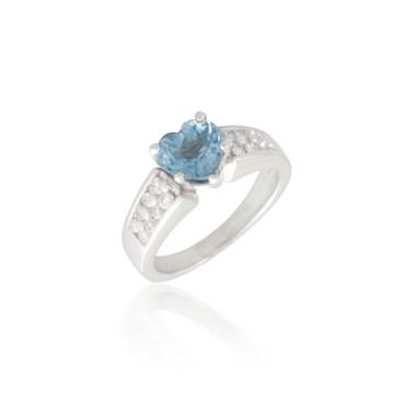 Heart Aquamarine and Diamond Ring