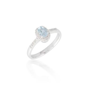 Oval Aquamarine and Diamond Halo Ring