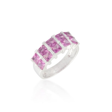 Pink Sapphire and White Diamond Band