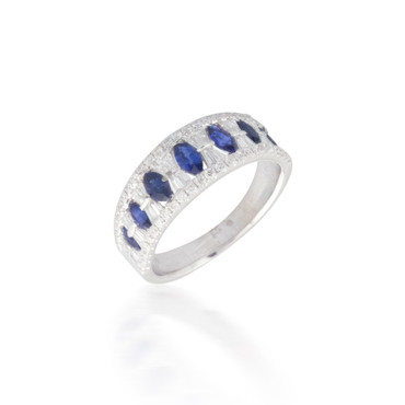 Sapphire and White Diamond Band