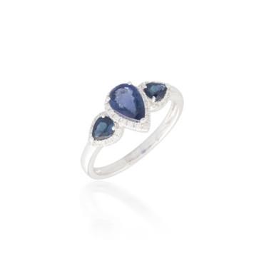 Three Stone Sapphire and Diamond Ring 2