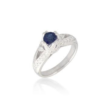 Deep Blue Sapphire and Diamond Ring