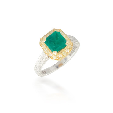 Two Tone Emerald and Diamond Ring