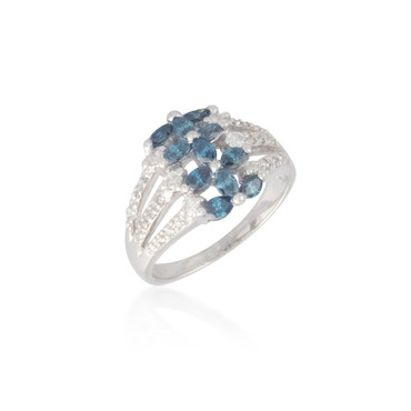 Blue and White Diamond Band