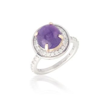 Cabochon Cut Amethyst and Diamond Ring