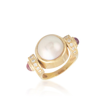 Bulky Pearl and Ruby Ring