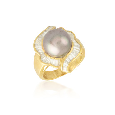 Pearl and Baguette Halo Ring