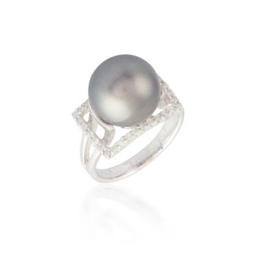 Black Pearl and Diamond Halo Ring