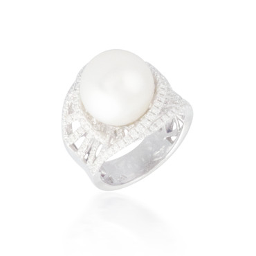 White Pearl and Diamond Halo Ring