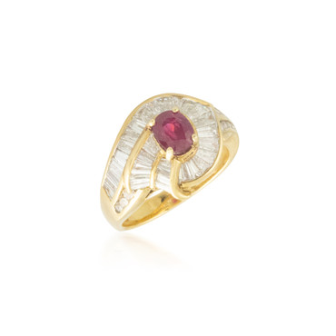 Ruby and Baguette Diamond Halo Ring