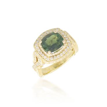 Green Tourmaline and Diamond Ring 2