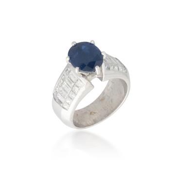 Sapphire and Emerald-cut Diamond Ring