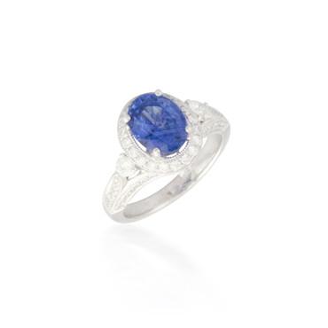 Intricate Sapphire and Diamond Ring