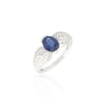 Sapphire and Diamond Pave Ring