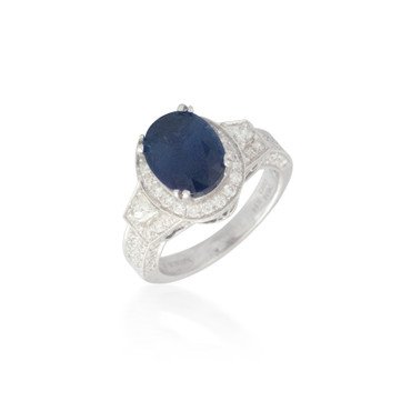 Huge Oval Sapphire and Diamond Ring