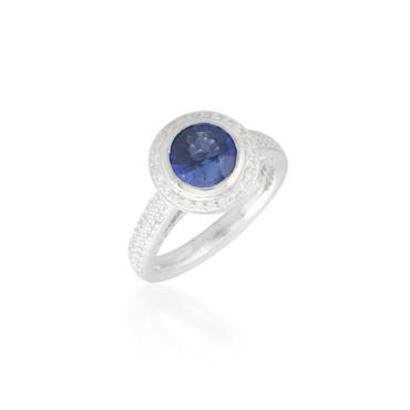 Sapphire and Diamond Halo Ring 2