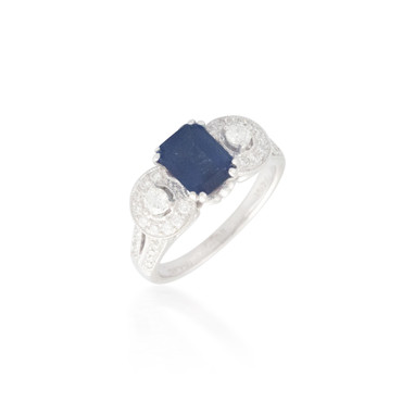 Emerald-cut Sapphire with Diamond Halos Ring