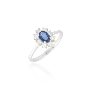 Oval Sapphire with Diamond Halo Ring
